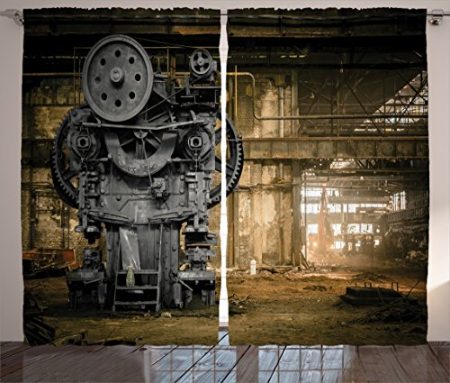 Ambesonne Industrial Decor Collection Metallurgical Firm Waiting for a Demolition Messy Dust Vintage Large City Repair Image Living Room Bedroom Curtain 2 Panels Set 108 X 90 Inches Dimgrey