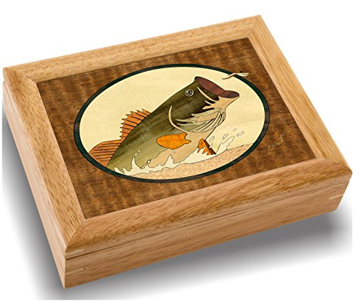 Wood Art Bass Box - Handmade in USA - Unmatched Quality - Unique No Two are the Same - Original Work of Wood Art A Bass Gift Ring Trinket or Wood Jewelry Box 2105 Bass and Dragonfly 6x8x2
