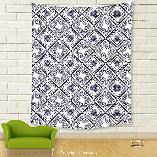 Vipsung House Decor Tapestry_Decorative Arts And Craft Theme Flower Pattern On Porcelain Decorations For Home Print White And Blue_Wall Hanging For Bedroom Living Room Dorm