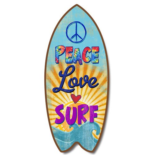 Weathered Peace Love Surf Mini Surfboard Plaque Retro Home Décor Accent 11