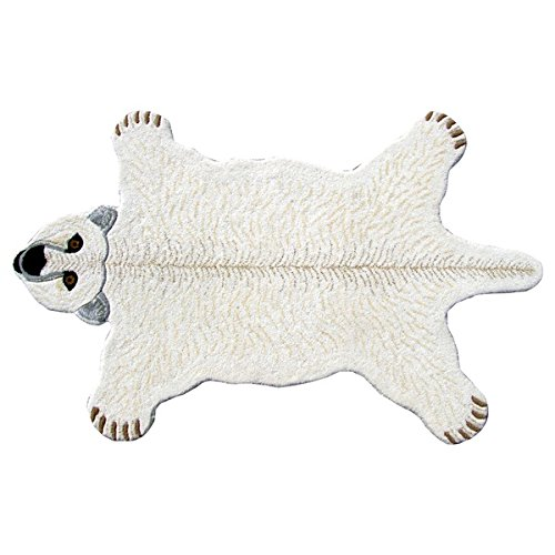 3x5 White Polar Bear Shaped Area Rug Indoor Graphical Pattern Living Room Free Form Rectangle Carpet Southwest Cabin Themed Soft Synthetic Material Hunting Wild Animals Nature Lodge Cottage