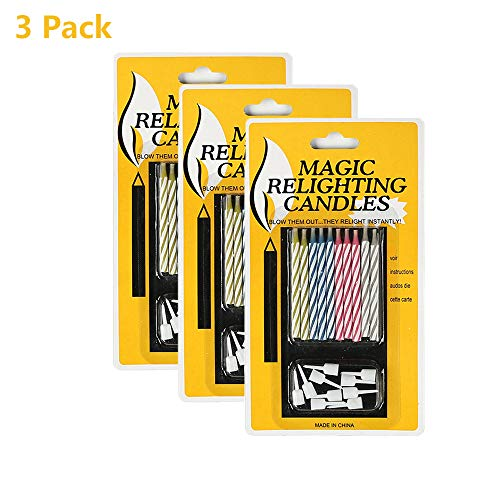 JIELI Amazing Magic Relighting Candles Multicolor Birthday Candles Trick Relighting Candle PinkYellowBrownBlue 3 Pack