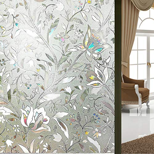 Polandee Window Paper for Home Office 3D Decorative Frosted Window Film Privacy Removable Opaque Window Cling Tint Film Sidelight Glass Front Door for Bathroom Shower Window Film 177x787 inches