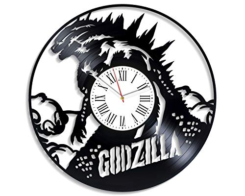 Kovides Godzilla King of The Monsters for Boys Him Vintage Vinyl Record Clock Large Horror Art Godzilla Wall Clock Unique Decor for Boys Room Original Clock for Kids