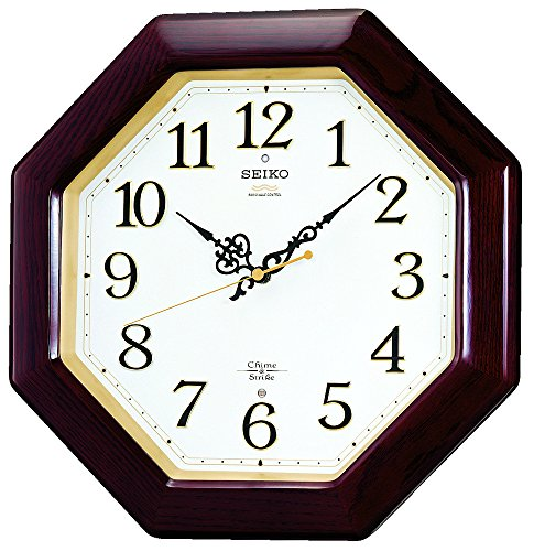 SEIKO CLOCK  Seiko clock  radio wall clock twin -Pas chime u0026 Strike wooden frame Brown RX210B