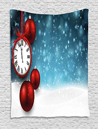 Clock Decor Tapestry by Ambesonne New Year Theme Christmas Balls and a Vintage Clock Background with Snowflakes Wall Hanging for Bedroom Living Room Dorm 60 W x 80 L Inches Red and Blue