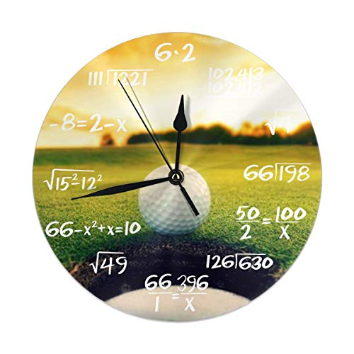 FEAIYEA Wall Clock Sport Golf Ball Sunset Tree Decorative Wall Clock Silent Non Ticking - 98Inch Round Easy to Read Decorative for HomeOfficeSchool Clock