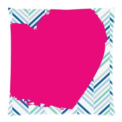 Square Throw Pillow Case Decorative Cushion CoverCase Zippered Pillowcase With Blue and Green Herringbone with Big Pink Love Heart Chevron Pattern 18 X 18 InchTwin Sides