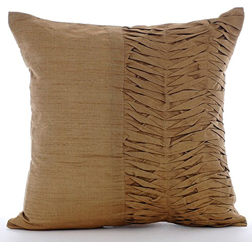 Designer Gold Brown Throw Pillows Cover Textured Pintucks Solid Color Pillow Cover 20x20 Pillow Covers Decorative Contemporary Pillow Cases Square Silk Pillowcase - Gold Brown Pleats