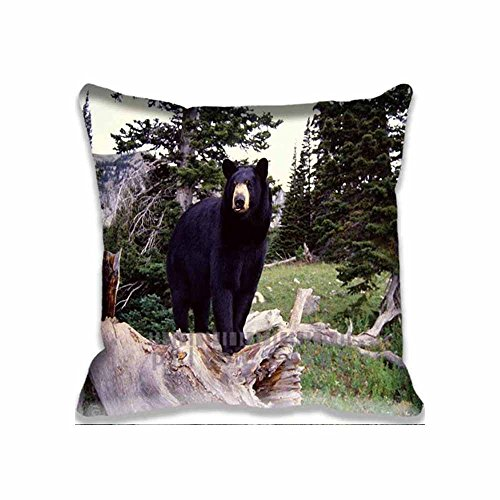 Home Square Cotton Polyester Cushion Covers Big Black Bear Decorative Pillow Cases with Hidden Zippered Custom Throw Pillow Cover for Sofa Couch Bed 18x18inch