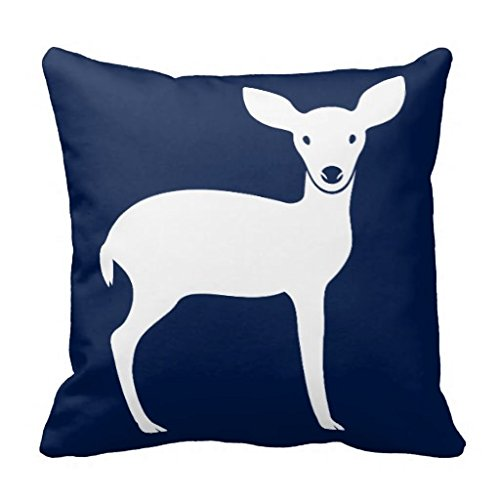 Woodland Deer Throw Pillow Case In Navy Blue And White