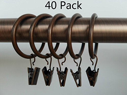 Xin store 40-pack Copper Metal Curtain Rings with Clips 1