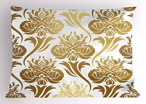 Gold and White Pillow Sham by Ambesonne Damask Ombre Abstract Image with Floral Asian Inspired Details Print Decorative Standard King Size Printed Pillowcase 36 X 20 Inches Yellow and White