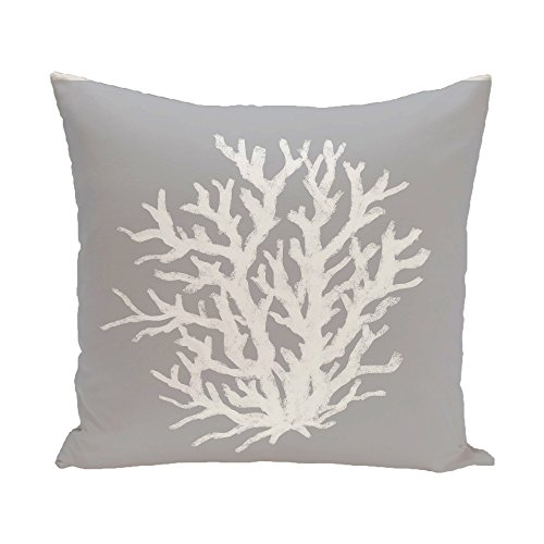 E By Design Coral Reef Geometric Print Pillow 20-Inch Length Classic Gray