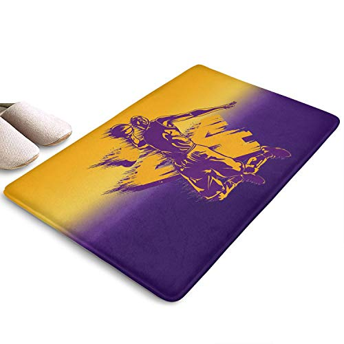 Eoyles Ice Hockey Basketball Player Bathroom Colorful Outside Rugs Non Slip 31x19 Water Absorbing Bedroom Door Mats