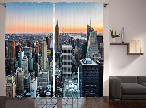 Modern Curtains World Decor by Ambesonne New York City Manhattan Skyline Sunset Contemporary Landscape Window Drapes 2 Panel Set for Living Room Bedroom 108 X 84 Inches Grey Blue and Orange