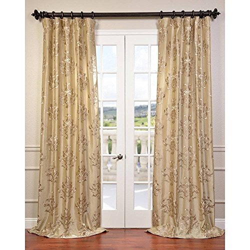 1 Piece Champagne Damask Geometric Medallion Novelty Ankara Embroidered Faux Silk Taffeta Window Curtain 108 Inches Single Panel Dark Brown Fabrics Window Treatment Vibrant Rod Pocket Silk Polyester