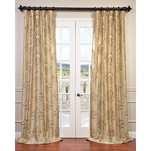 1pc Champagne Damask Geometric Medallion Novelty Ankara Embroidered Faux Silk Taffeta Window Curtain 108 Single Panel Dark Brown Fabrics Window Treatment Vibrant Rod Pocket Silk Polyester