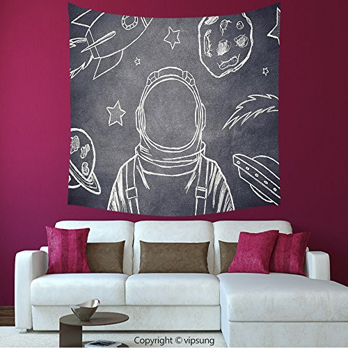 House Decor Square Tapestry-Modern Decor Space Backdrop With Planets Rocket And Sketchy Astronaut Figure Galaxy Image Dark Grey_Wall Hanging For Bedroom Living Room Dorm