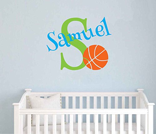 Personalized Monogram Kids Wall Decals - Boys Wall Decal- Name Vinyl Lettering - baby boy nursery wall decal Samuel Basketball