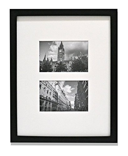 Golden State Art Display 2 4x6 Pictures 11x14 Photo Wood Frame with REAL GLASS and White Mat Black