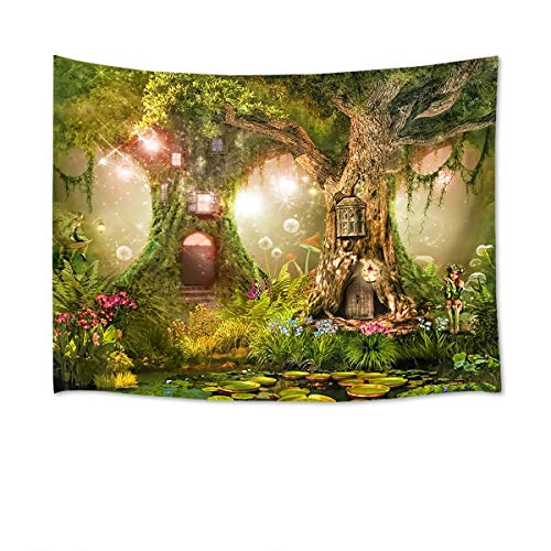 HVEST Fairy Tale Forest Tapestry Wall Hanging Lotus Pond Magic Trees Houses in Dreamland Tapestry for Kids Girls Bedroom Living Room Dorm Decor Birthday Party Backdrop 80Wx60H inches