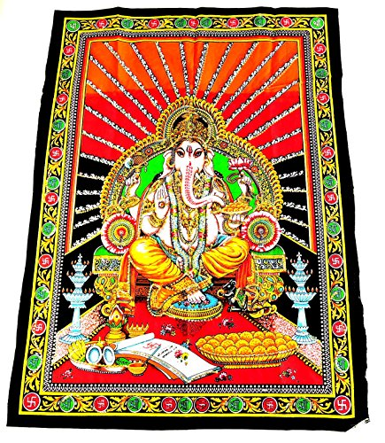 Yapree Handmade Ganesh Cotton Tapestry with Screen Printed Design  Large 40 X 30