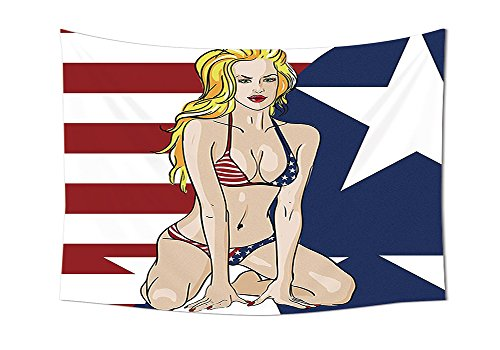Girls Tapestry Decor Blonde Top Model American Woman Wearing USA Flag Swimsuit Western 4th of July Theme Print Wall Hanging for Bedroom Living Room Dorm Multi