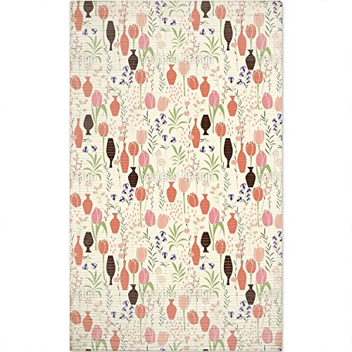 Tulips And Vases Floor CoveringMat Large Soft and Stain Resistant