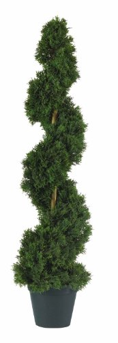 Two 3 ft Outdoor Artificial Cedar Spiral Topiary Trees