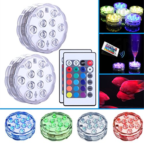 XINSTAR Submersible LED Light Remote Controlled Vase Light RGB Multicolor 10-LED Battery Operated Waterproof Pool Lights for Pond PartyWedding Vase Base Christmas Home Lighting 2 sets