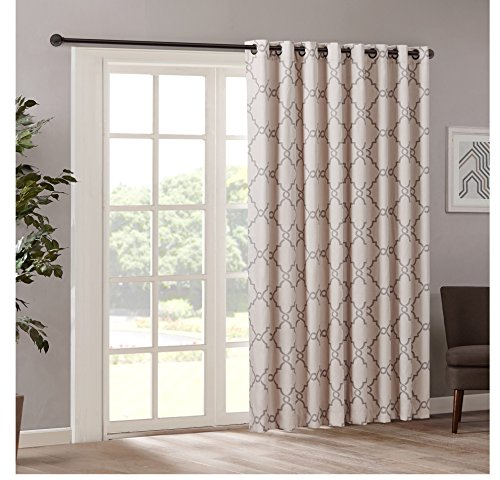 1 Piece 84 Inch Beige Color Geometric Sliding Door Curtain Brown Sliding Patio Door Panel Window Treatment Single Panel Lattice Design Contemporary Curtains For Glass Door Grommet Polyester