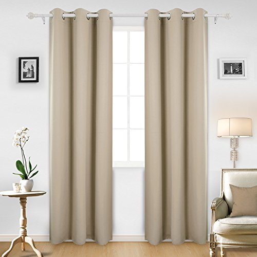 Deconovo Room Darkening Thermal Insulated Blackout Grommet Window Curtain Panel For Infant Room Beige42x95-Inch1 Panel