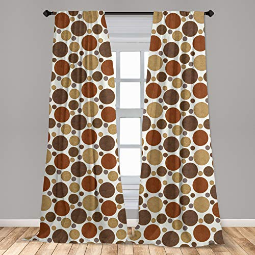 Ambesonne Chocolate Curtains 2 Panel Set Vintage Design with Round Shapes with Curved Lines Abstract Geometric Motifs Lightweight Window Treatment Living Room Bedroom Decor 56 x 84 Multicolor
