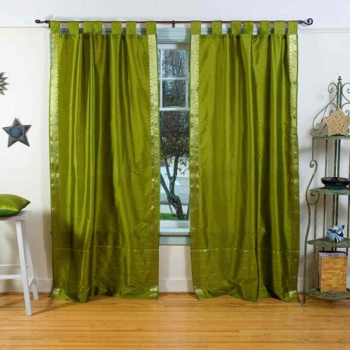 Lined-Olive Green Tab Top Sheer Sari Cafe Curtain  Drape  Panel-43W x 36L-Pair