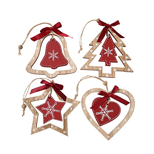 Generic Wooden Christmas Tree Decoration Star Heart Tree Bell Hanging Decor4PcsPack
