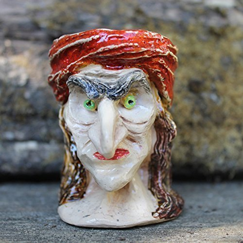 Sculptural Witch ceramic Halloween Candle holder old witch egg cup spooky Candle holder clay art Halloween decor creepy egg cup