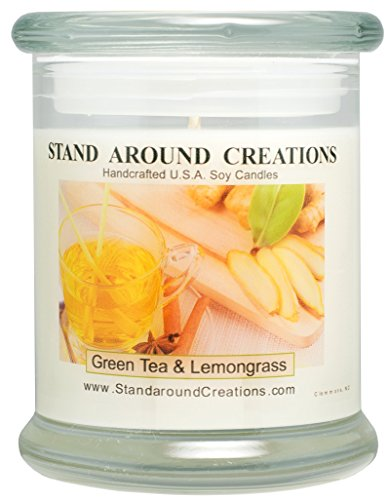 Premium 100 Soy Candle - 12 oz Status Jar -Green Tea and Lemon Grass Bright and natural citrus begins w notes of bergamot tea and plum w jasmine and orange flowers w a clean citrus musk