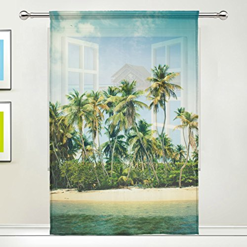 Tropical Sea Sand Beach Coconut Palm Trees Sheer Curtain for Living Dining Room Bedroom 55 x 84 Inches Long Green Window Treatments Rod Pocket Polyester Fabric