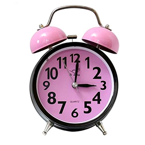 Rebecca Classic Twin Bell Alarm Clock Heart Shape Soild Color Silence Alarm Clock with Backlight Pink