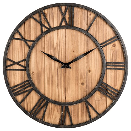 OLDTOWN Farmhouse Rustic Barn Vintage Bronze Metal Solid Wood Noiseless Big Oversized Wall Clock X-Large 24-inch