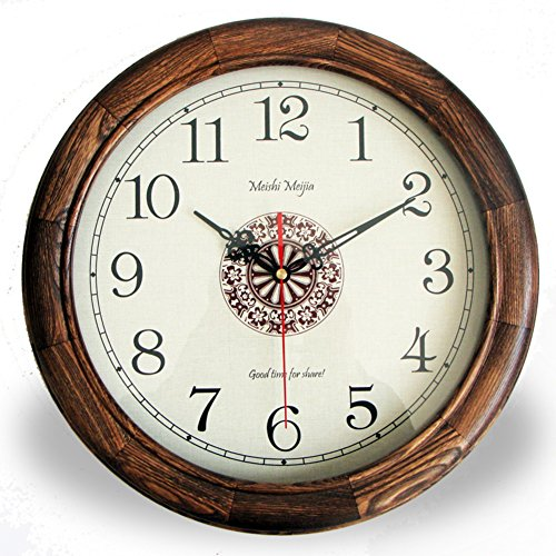mute solid wood wall clock tableAmerican retro living room quiet movement wall clock-A 12inch
