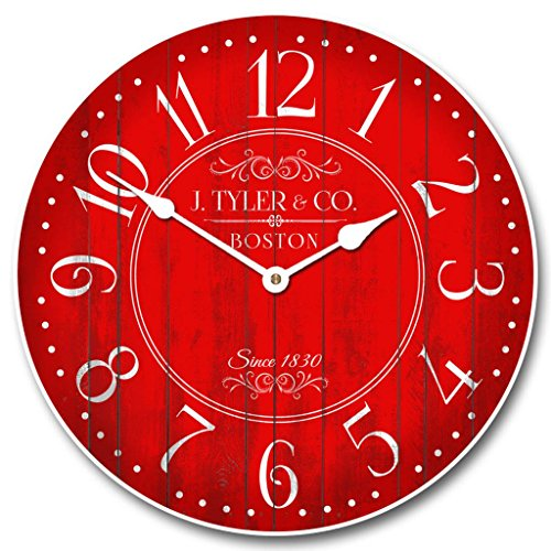 Harbor Red Wall Clock Available in 8 sizes Most Sizes Ship 2 - 3 days Whisper Quiet