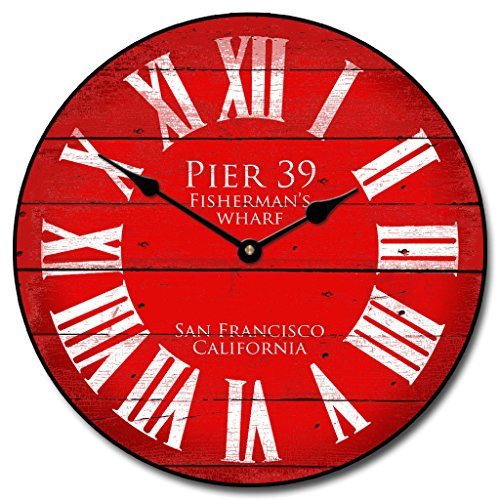 Pier 39 Red Wall Clock Available in 8 sizes Most Sizes Ship 2 - 3 days Whisper Quiet