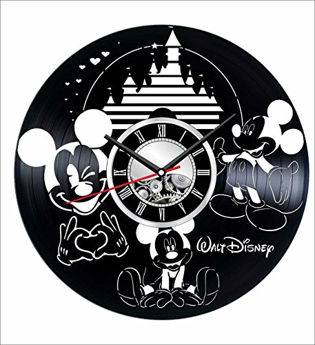 Mickey Mouse Wall Clock Made of Vintage Vinyl Records - Stylish Clock and Amazing Gifts Idea - Unique Home Decor - Personalized Presents for Men Women Kids - Great for Living Room Bedroom Kitchen