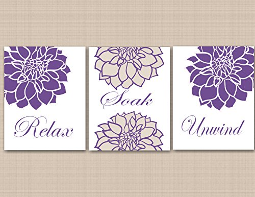 Purple Floral Bathroom Wall ArtLavender Bathroom Wall ArtPurple Tan Crean Floral Wall ArtPurple Bathroom DecorPurple Floral Wall Decor- UNFRAMED set of 3 PRINTS NOT CANVAS