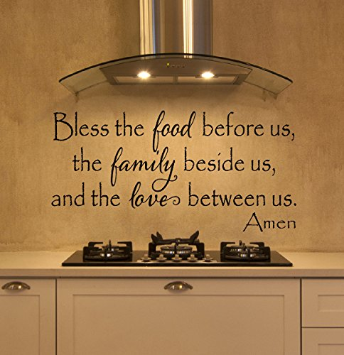 Bless The Food Wall Decal - 13 x 30 - By Davis Vinyl Designs Black