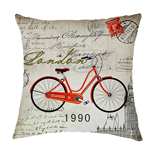 Bicycle Bike Decorative Polyester Square Throw Pillow Case Cushion Cover Throw Pillow Shell Pillowcase 24 X 24 Inch
