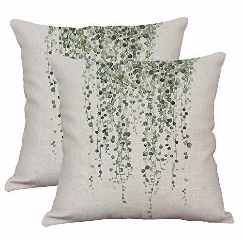 Set Of 2 Green Plant Throw Pillow Covers Decorative Cotton Linen Cushion Cover Outdoor Sofa Home Pillow Covers 16x16 Inch