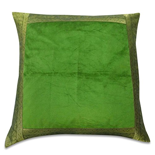 Indian Green Designer Velvet Pillowcases Sofa Pillow Cover Satin Square 24 X 24